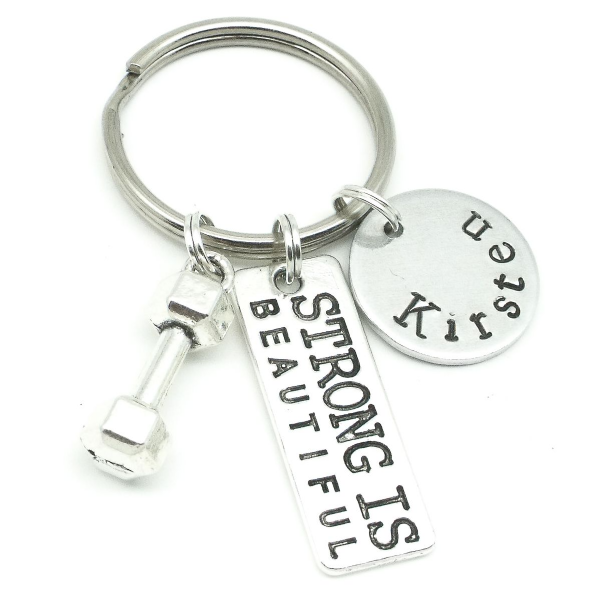 Gym personalised jewellery name gift keyring for her